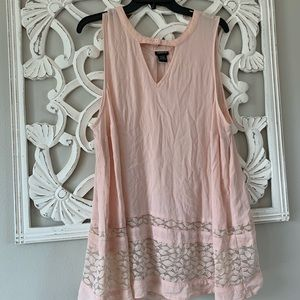Adorable Blush Colored Torrid Blouse with Lace